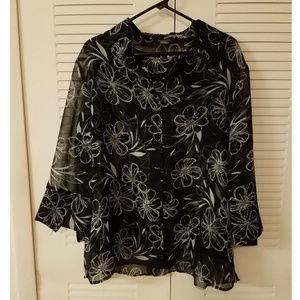 Two Piece Black Floral Button Up Blouse